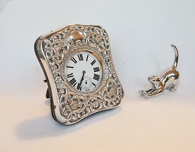 Antique Goliath Pocket Watch in Sterling Silver Mount Frame Henry Matthews 1902