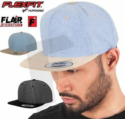Yupoong Classic Shape Chambray-Suede Snapback Hat Adults Unisex Baseball Cap New