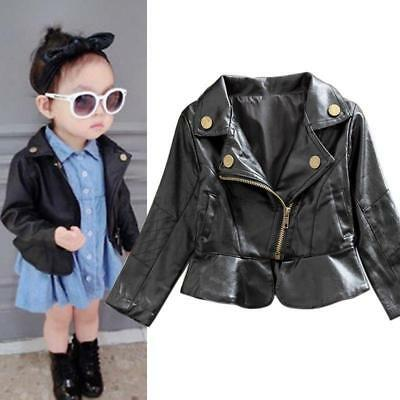 Kids Baby Girls PU Leather Long Sleeve Zipper Jacket Motorcycle Warm Outerwear