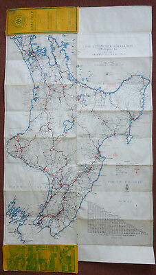 Large Vintage Road Map Wellington to Auckland New Zealand 1936