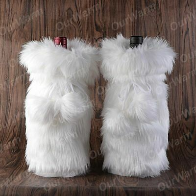 White Luxury Faux Fur Christmas Wine Bottle Holder Gift Bags with Drawstring