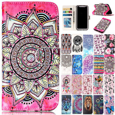 For iPhone XS Max 5 6 7 8+ Painted Magnetic Leather Stand Card Wallet Case Cover