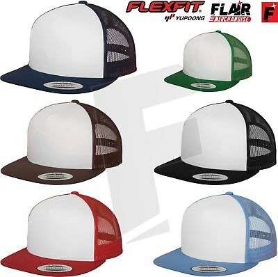 Yupoong Classic Trucker Mesh Back Cap Flat Visor Hat 5 Panel Snapback Adults New