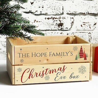 Personalised Christmas Eve Solid Wooden Treat Box, Printed Family Xmas Crate