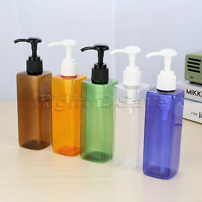 250ml Cosmetic Shampoo Empty Lotion Container Pressed Pump Spray Bottle 5 Colour