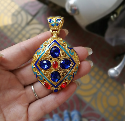 Chinese Delicate Cloisonne Inlaid zircon Pendant
