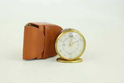 Vintage JAEGER 8 Day Hand-Wind Travel Alarm Clock In Fitted Case For REPAIR