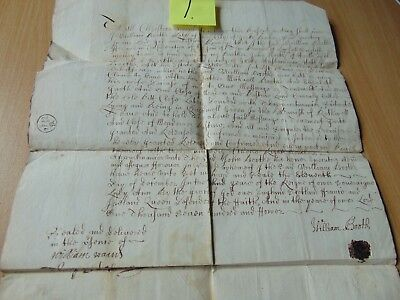 Ink Dip Pen Deed Indenture Manuscript 1704 Booth York Rothwell Will