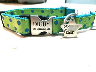 CLEARANCE Metal Buckle nylon pattern dog collar, personalised engraved custom