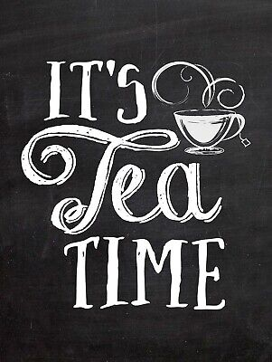 Its Tea Time METAL VINTAGE RETRO SHABBY-CHIC SIGN WALL PLAQUE KITCHEN