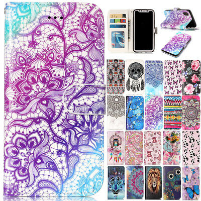 Magnetic Leather Flip Wallet Stand Case Cover For Samsung Galaxy S5 7 8 9/Note 9