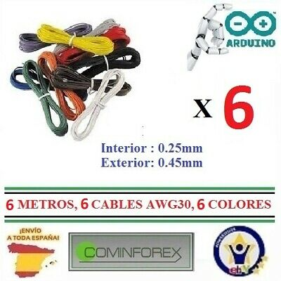 7 Cables de 1 Metro AWG30 UNIFILIAR WRAPPING WIRE Cord Electronica Robotic  CA21