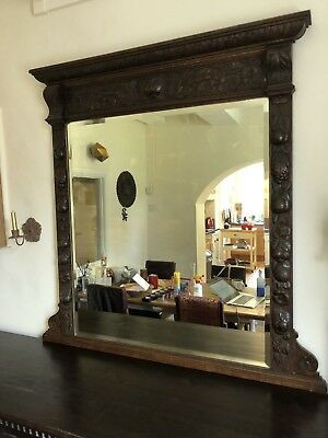 LARGE Solid Oak C19th Carved Flemish Gothic Antique MIRROR Lions Head /Green Man