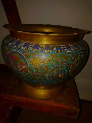 Antique Brass Chinese CLOISONNÉ JARDINIERE LARGE( Dragon Rooster Style )