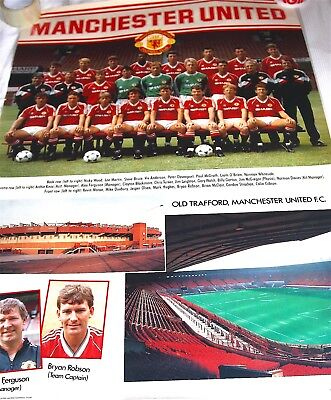 Manchester United Team Poster 1988-89 season  Very Rare!