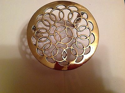 Antique Victorian Solid Brass Round Trivet Kettle Pan Kitchen Collectable Gift