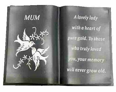 Mum Slate Grey Memorial Book Dove Diamante Detail Grave Plaque Ornament Tribute
