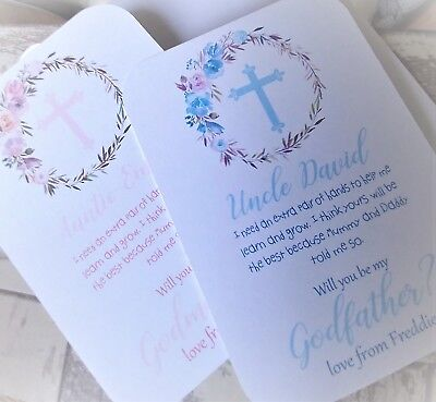 Personalised Will You Be My Godmother/Godfather/Godparents Poem Request Card FL1
