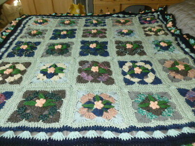 Vintage style crochet vibrant retro style granny knitted blanket throw quilt