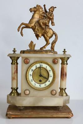 MARBLE & GILT METAL ANTIQUE FRENCH MANTEL CLOCK with GESSO WOOD STAND service