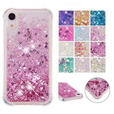 For iPhone XS Max XR Shockproof Liquid Moving Quicksand Glitter TPU Case Cover