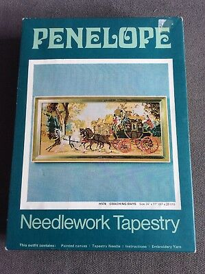 "Vintage Penelope Needlework Tapestry Kit Coaching Days 24"" by 11"" Part Completed"