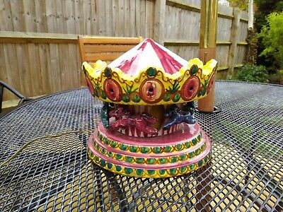 Collectable old hand painted ceramic merry go round, night light