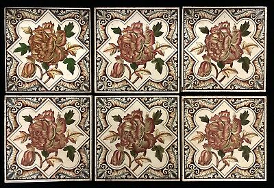 Antique Victorian Ceramic Tiles W/ Floral Pattern (6 PCE) 15.5cm x 15.5cm