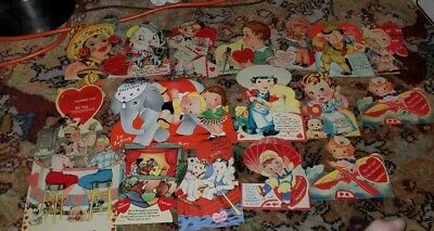 Lot of 18 Vintage Mechanical Easel Back Die Cut Valentine Card 1930s  1940s