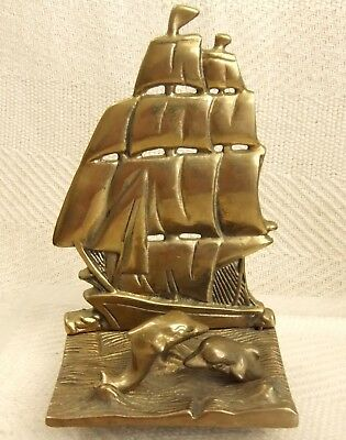 """Antique Victorian Cast Brass Dolphin & Gallion Nautical Themed Bookend 6 1/4"""""""