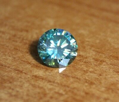 4.72ct Teal Moissanite Round - Beautiful Precision Cut Gem - Sea Green/Blue