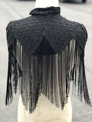 Antique Victorian Jet Beaded Cape Black Beautiful Condition Fringing