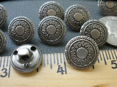 """15MM floral metal shank buttons 24L antique silver pewter color 5/8"""" hollow cool"""