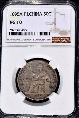 1895 A French Indo China, NGC VG 10, Cochin, Vietnam