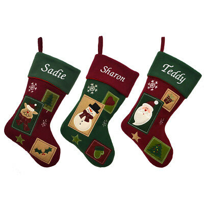 Personalised Embroidered Xmas Stocking Luxury Sack Santa Deluxe Christmas