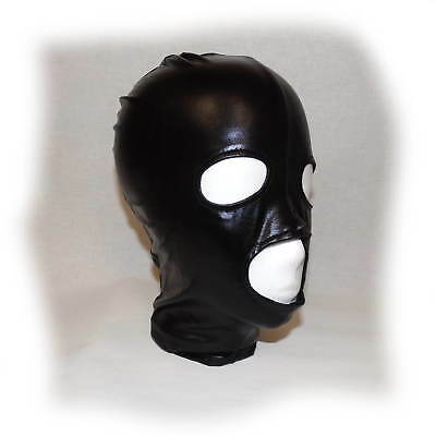 Black Latex Hood Showing Nose, Mouth and EyesSize one size (1481)