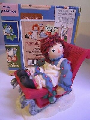 Raggedy Ann & Andy Sleigh ~ All Hearts Come Home at Christmas #597422 Enesco NEW