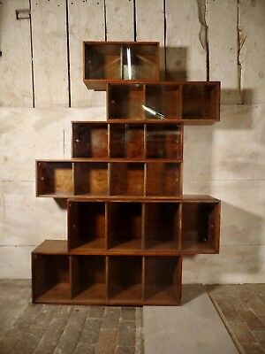 Antique Sectional Oak Step Down Glazed Display Cabinet Bookcase Phoenix Gallery