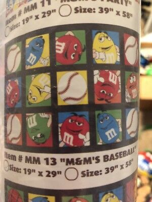 M&M's(R)  100% Acrylic Rug - Mint in Package 2008 - Red Baseball  19 X 29