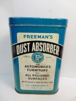 (#3)-Vintage Freeman's Dust Absorber Advertizing Auto Polishing Cloth Tin 1950's