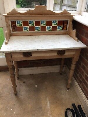 Victorian pine antique washstand marble top vintage