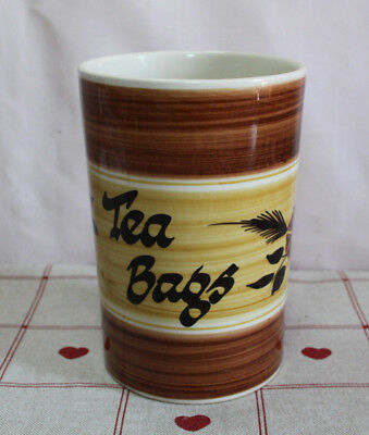 Unknown Vintage Toni Raymond Large 'Tea Bags' Holder Cup Tan & Brown