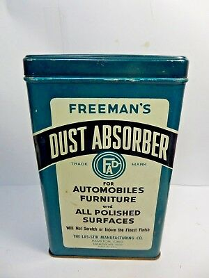 (#4)-Vintage Freeman's Dust Absorber Advertizing Auto Polishing Cloth Tin 1950's