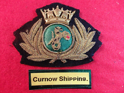 """Merchant Navy Officers cap badge """"CURNOW SHIPPING."""" Porthleven"""