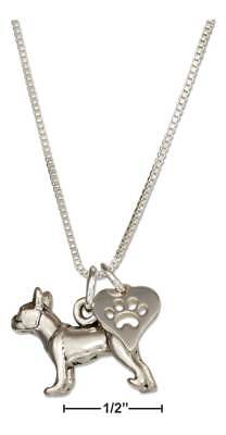 """Genuine .925 Sterling Silver 18"""" Boston Terrier Pendant Necklace & Dog Paw Heart"""
