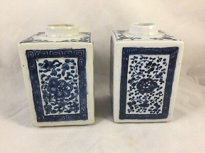 Pair of Chinese Blue and White Porcelain Tea Caddies, square bodies