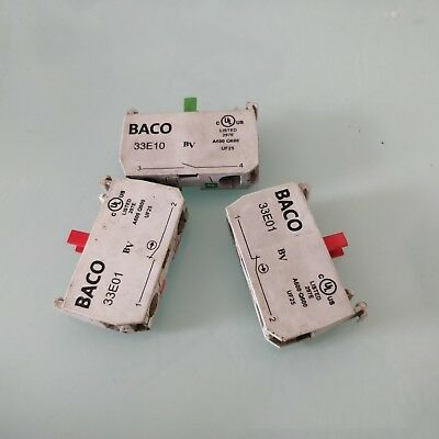 Lot of 3. Baco contact block new with out box 33E01 2pc N.C. and33E10 1pc.N.O.