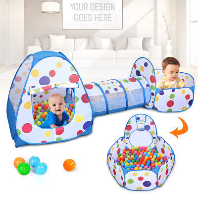 Portable Pop Up 3pcs Childrens Baby Play Tent And Tunnel Ball Pit Playhouse UK2