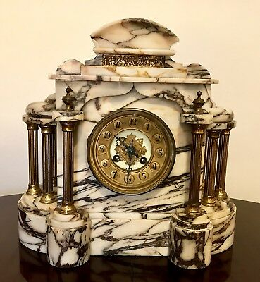 French 8 Days Movement By A.D Mougin Mantel Clock With Brocot Escapement