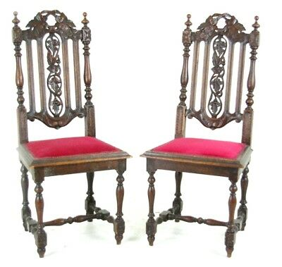 Antique Hall Chairs, Pair Victorian Hall Chairs, Scotland 1880, B763    REDUCED!